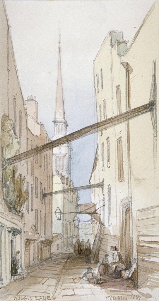 Detail of Huggin Lane, City of London by Thomas Colman Dibdin