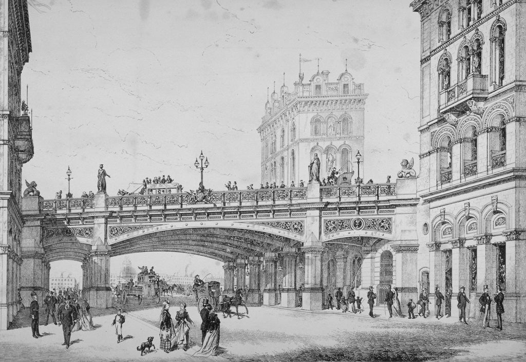 Detail of Farringdon Street and Holborn Viaduct, City of London by