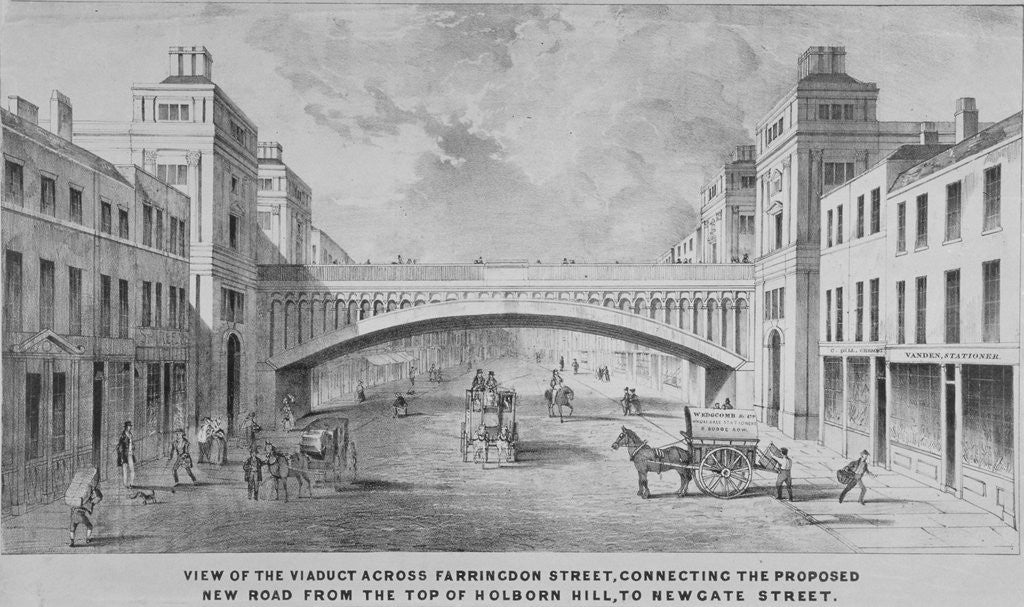 Detail of View of the proposed Holborn Viaduct across Farringdon Street, City of London by Anonymous