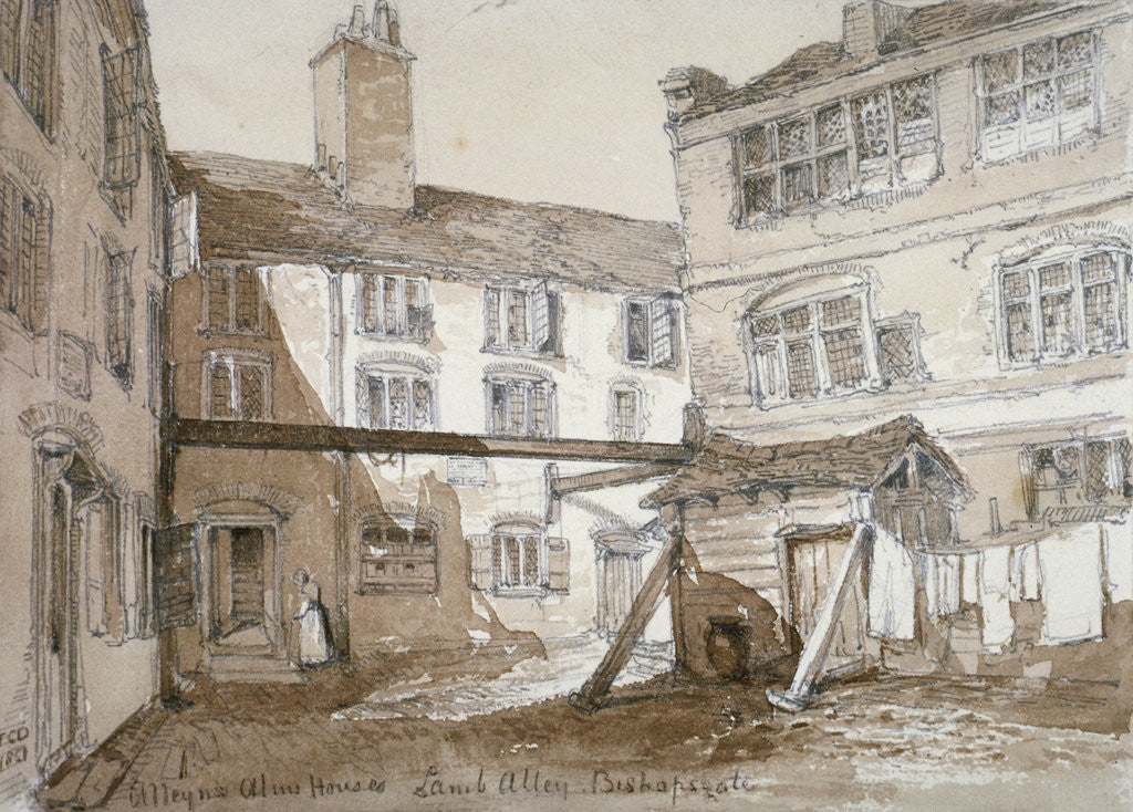 Detail of Alleyn's Almshouses, Gingerbread Court, Lamb Alley, City of London by Thomas Colman Dibdin