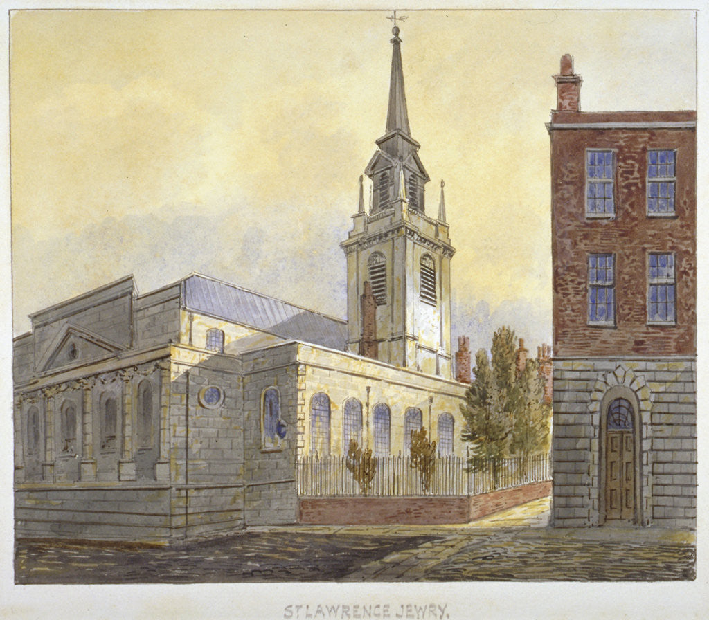 Detail of Church of St Lawrence Jewry from Guildhall Yard, City of London by William Pearson