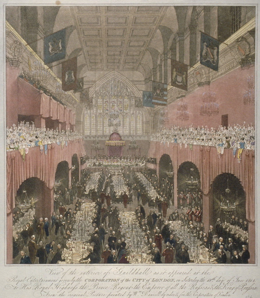 Detail of Banquet at the Guildhall, City of London, 1814 (1815) by Anonymous