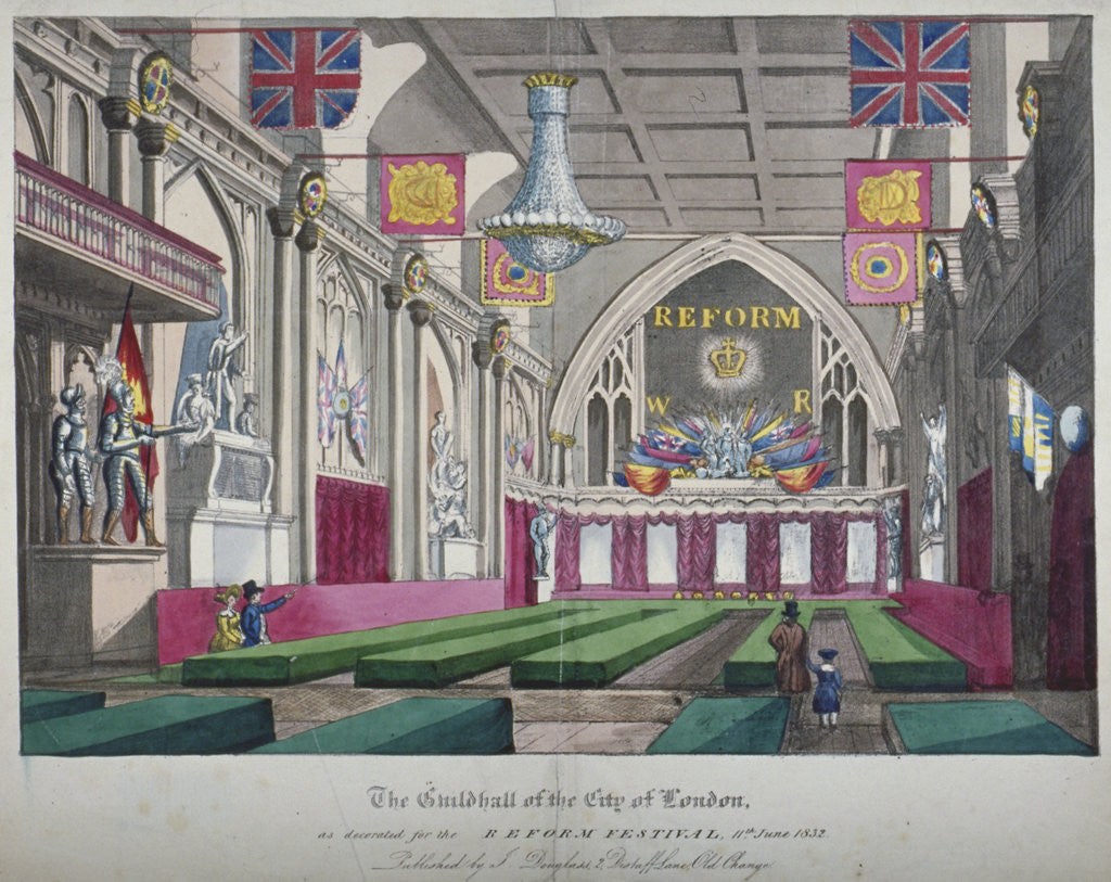 Detail of Interior view of the Guildhall decorated for the Reform Festival, City of London by