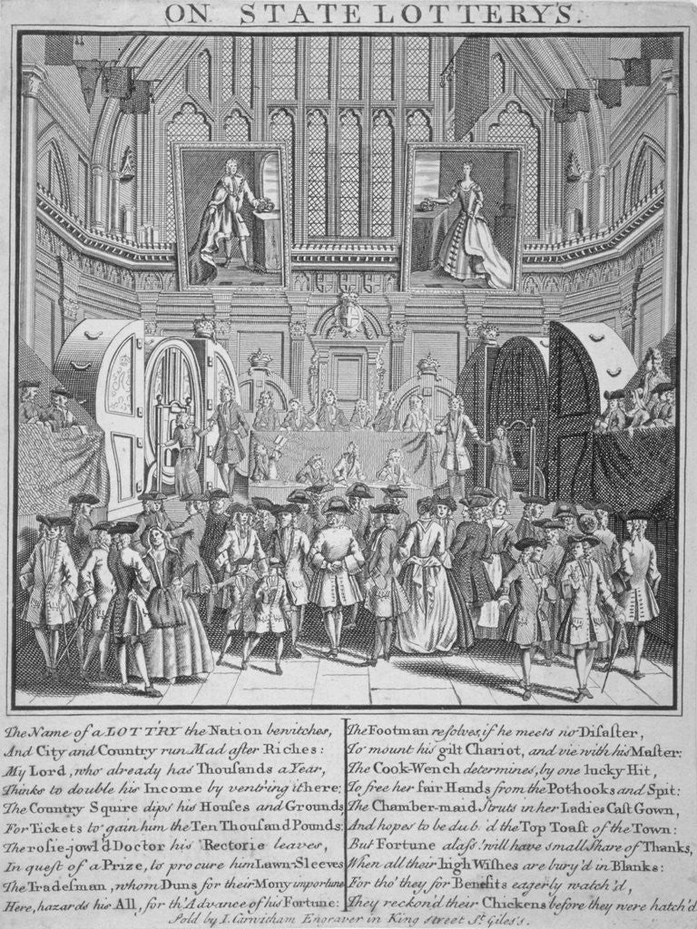 Detail of Drawing of the state lottery in the Guildhall, City of London by Anonymous