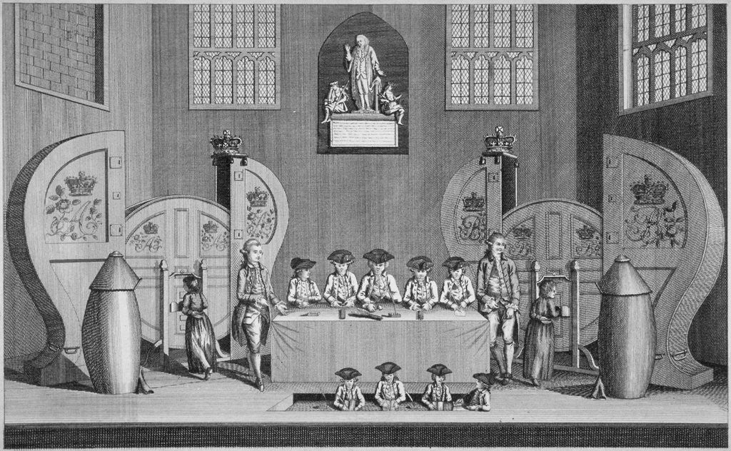 Detail of Drawing of the state lottery in the Guildhall, City of London by