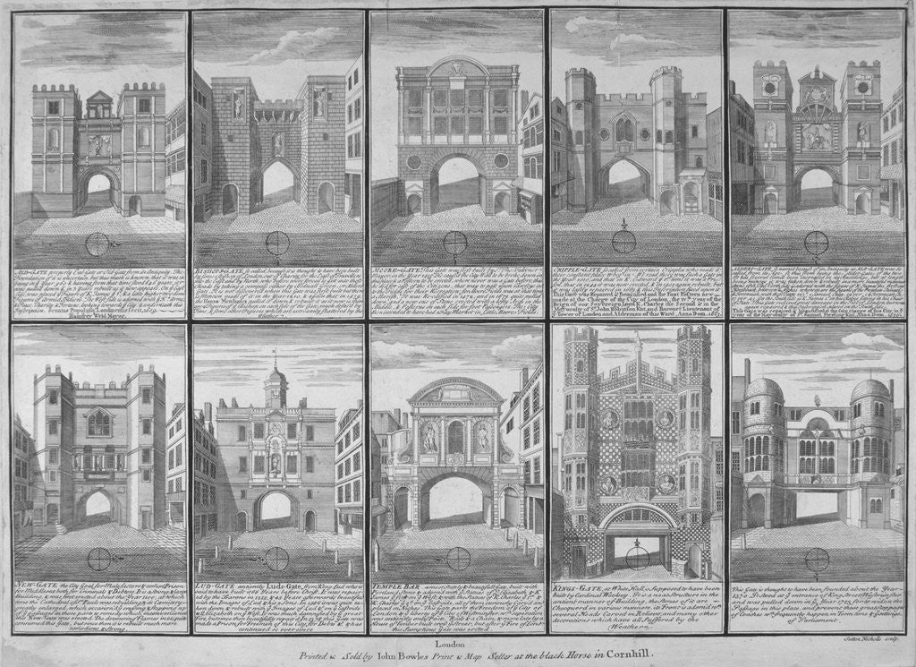 Detail of Ten gateways in the City of London and the City of Westminster by Sutton Nicholls