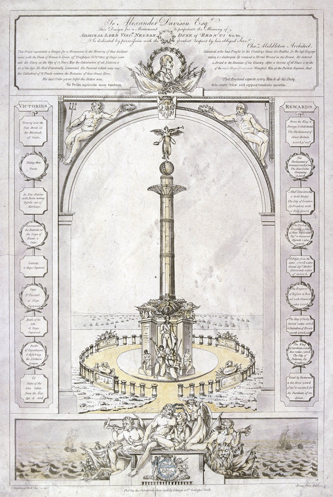 Detail of Design for a monument to Admiral Lord Nelson in the form of a column by