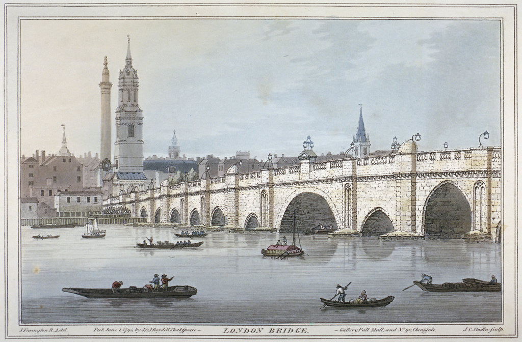 Detail of Old London Bridge by Joseph Constantine Stadler