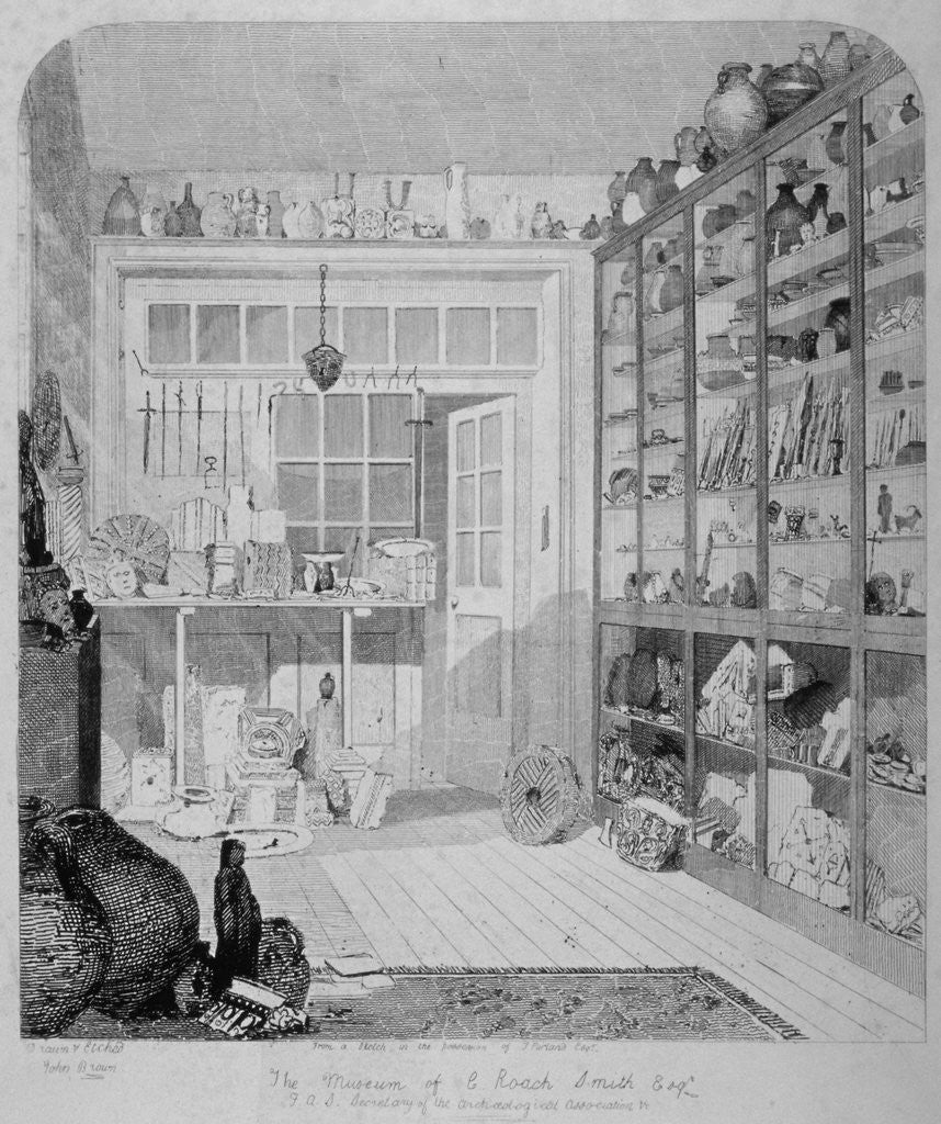 Detail of Interior view of Charles Roach Smith's museum in Liverpool Street, City of London by John Brown