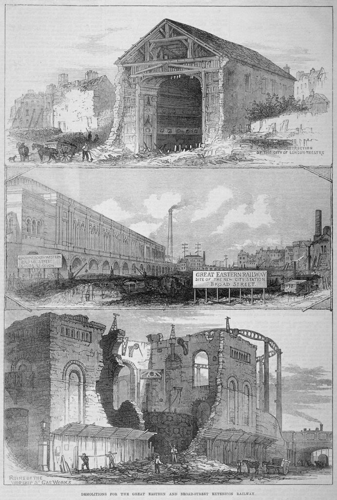 Detail of Demolitions for the Broad Street Extension of the Great Eastern Railway, City of London by