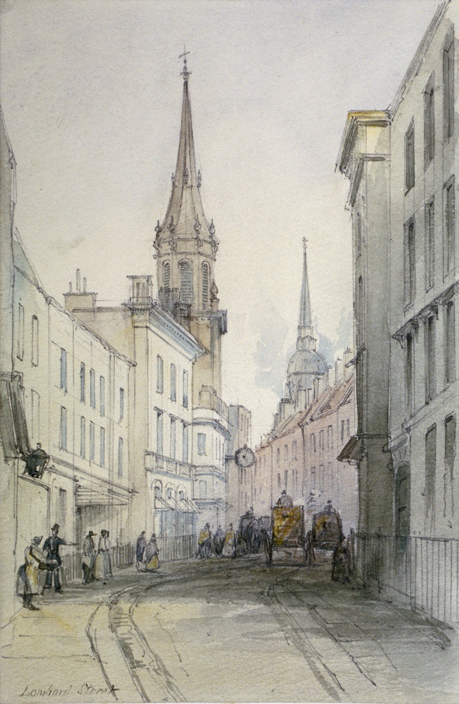 Detail of View along Lombard Street, looking east, with figures and carriages, City of London by Thomas Colman Dibdin