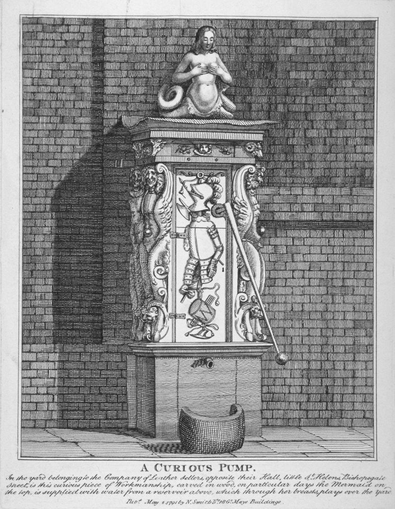 Detail of Ornate water pump in the yard at Leathersellers' Hall, Little St Helen's, City of London by John Thomas Smith
