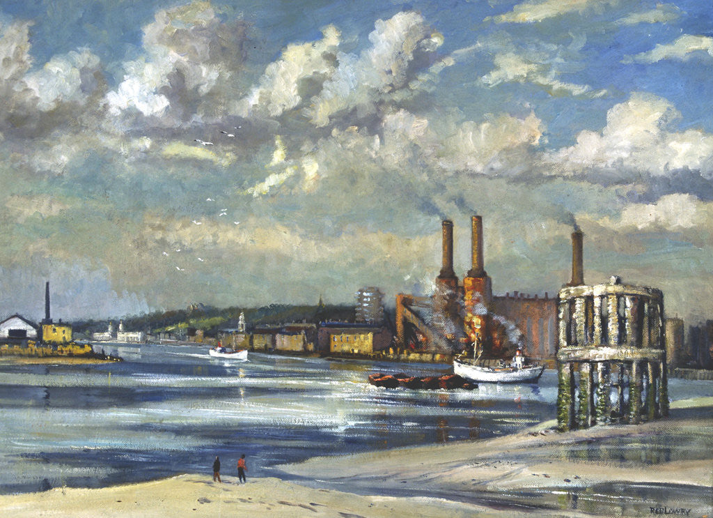 Detail of Low tide, Deptford by RCD Lowry