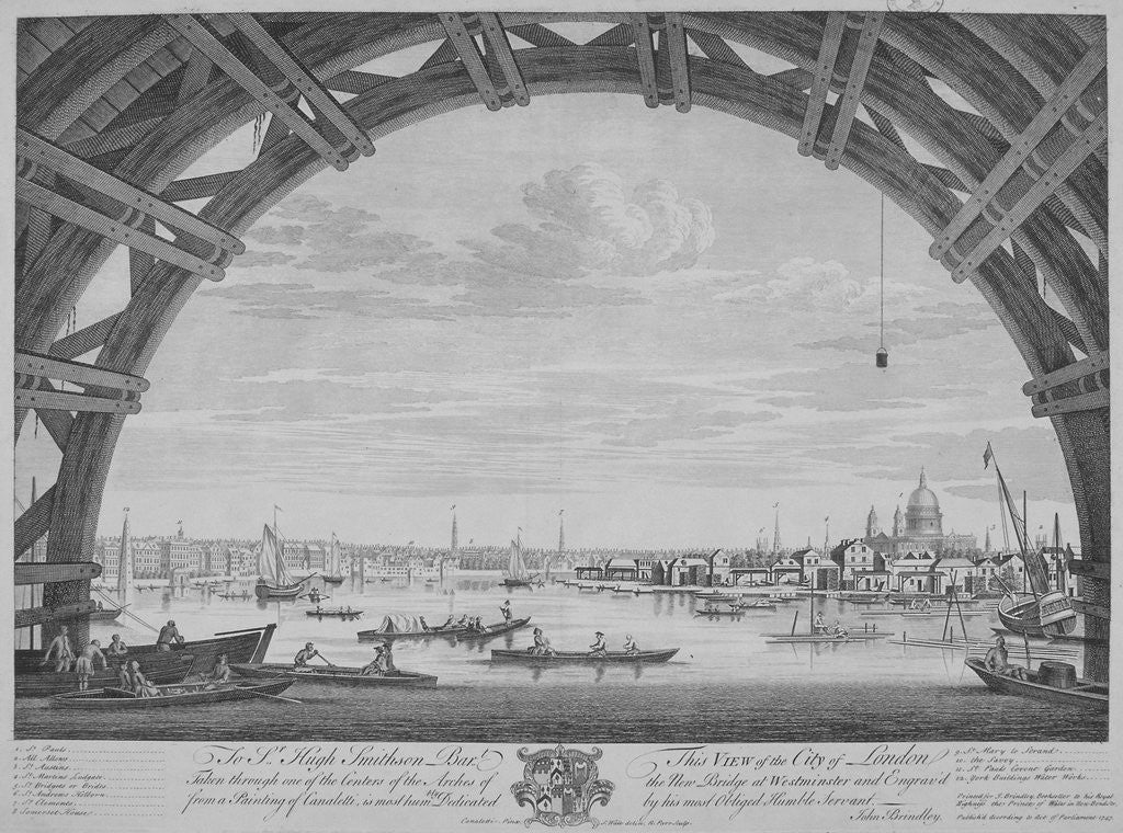 Detail of View of London and the River Thames from under Westmister Bridge by Remigius Parr