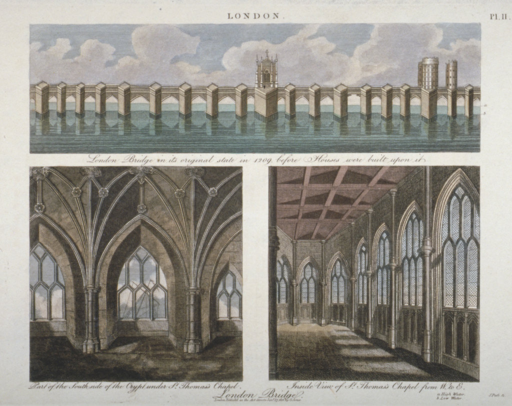 Detail of Views of the old London Bridge by