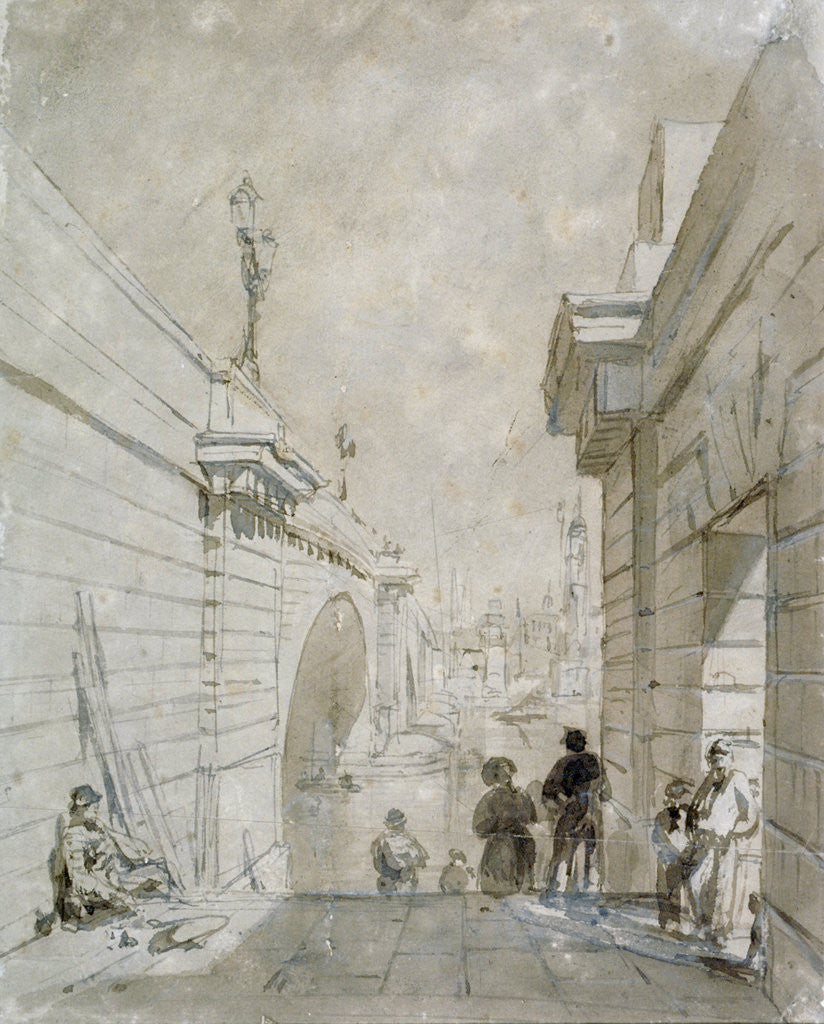 Detail of London Bridge looking north from the upper landing of steps near Tooley Street by Edward William Cooke