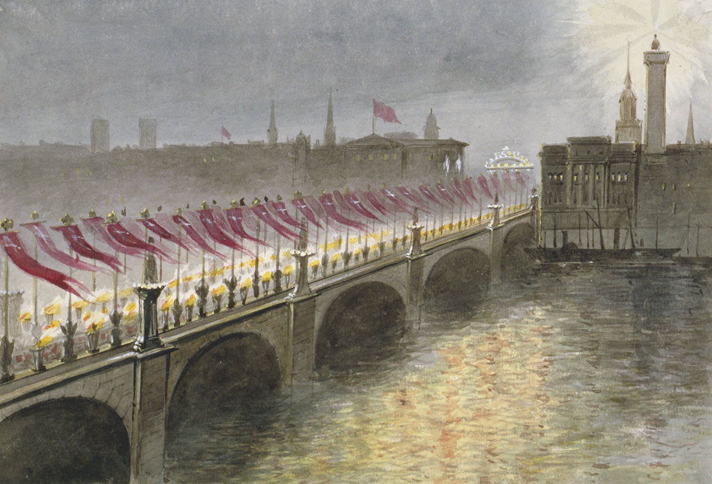 Detail of View of London Bridge on the night of the arrival of the Princess Alexandra of Denmark, 1863 by Maul