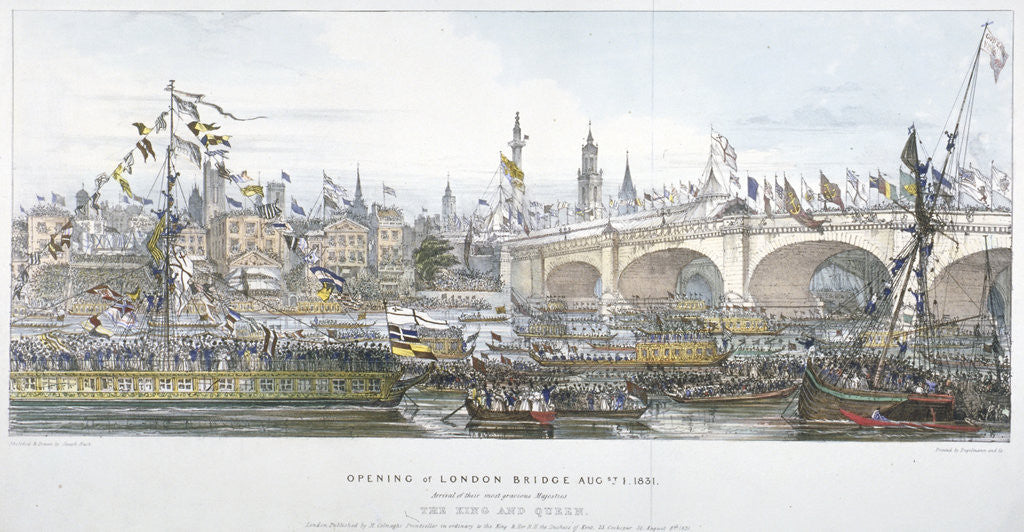 Detail of Opening ceremony of the new London Bridge by Englemann