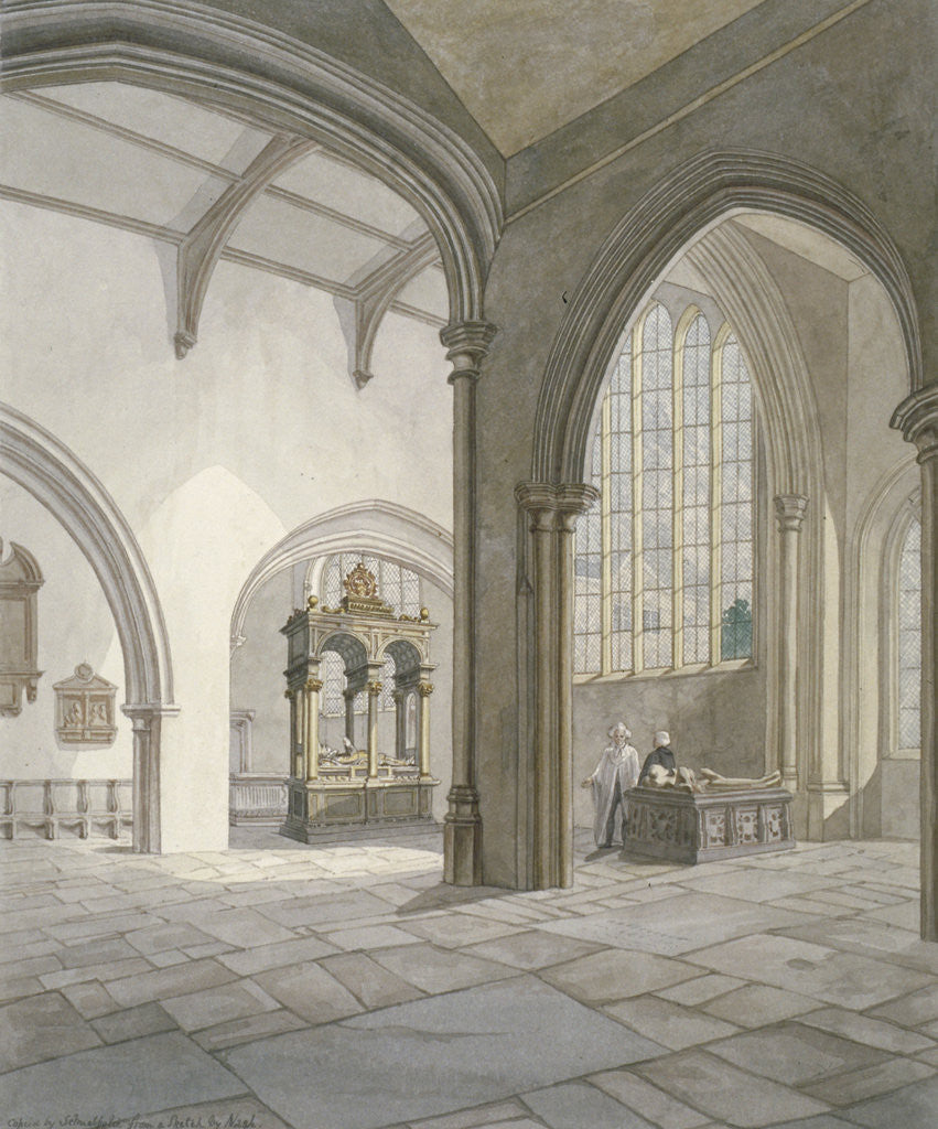 Detail of Interior south-west view of the Church of St Helen, Bishopsgate, City of London by Frederick Nash