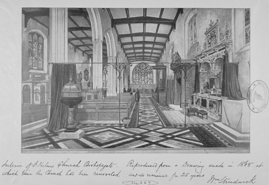 Detail of Interior of the Church of St Helen, Bishopsgate, City of London by William Strudwick