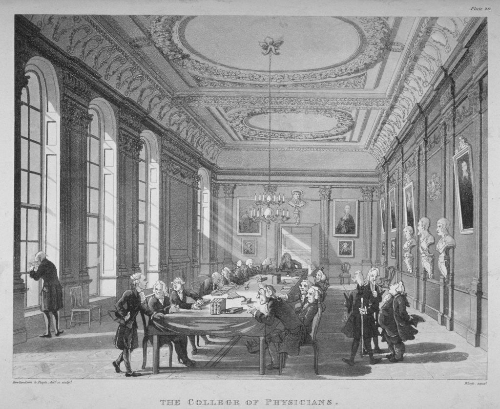 Detail of Interior of the boardroom with board members, College of Physicians, City of London by
