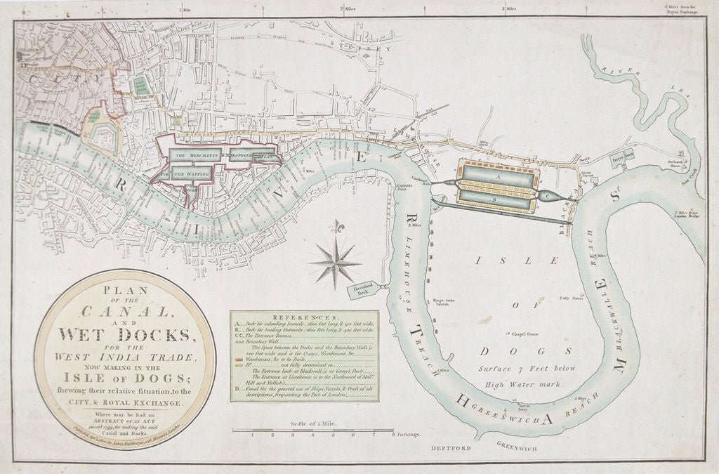 Detail of Proposed canals and docks, London by Anonymous