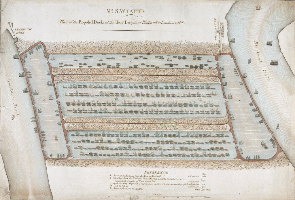 Detail of Plan of proposed docks at the Isle of Dogs, now the site of West India Docks, London by Anonymous