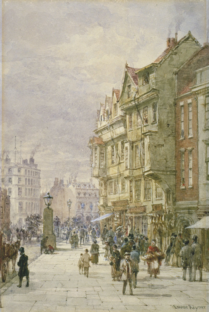 Detail of View east along Holborn with figures and horse-drawn vehicles on the street, London by Louise Rayner