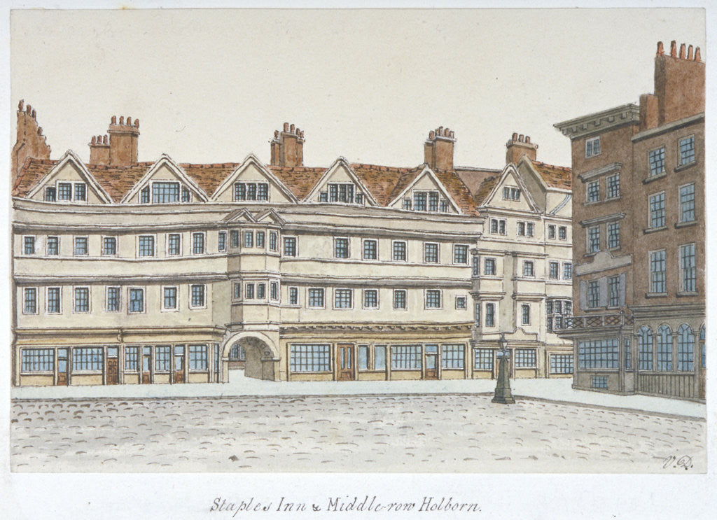 Detail of View of Staple Inn and the buildings of Middle Row in the centre of Holborn, London by Valentine Davis