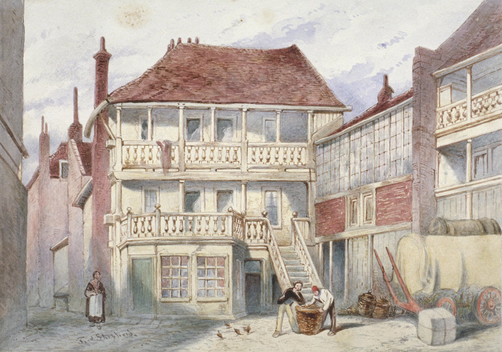 Detail of View of the French Horn Tavern, Holborn, London by Frederick Napoleon Shepherd