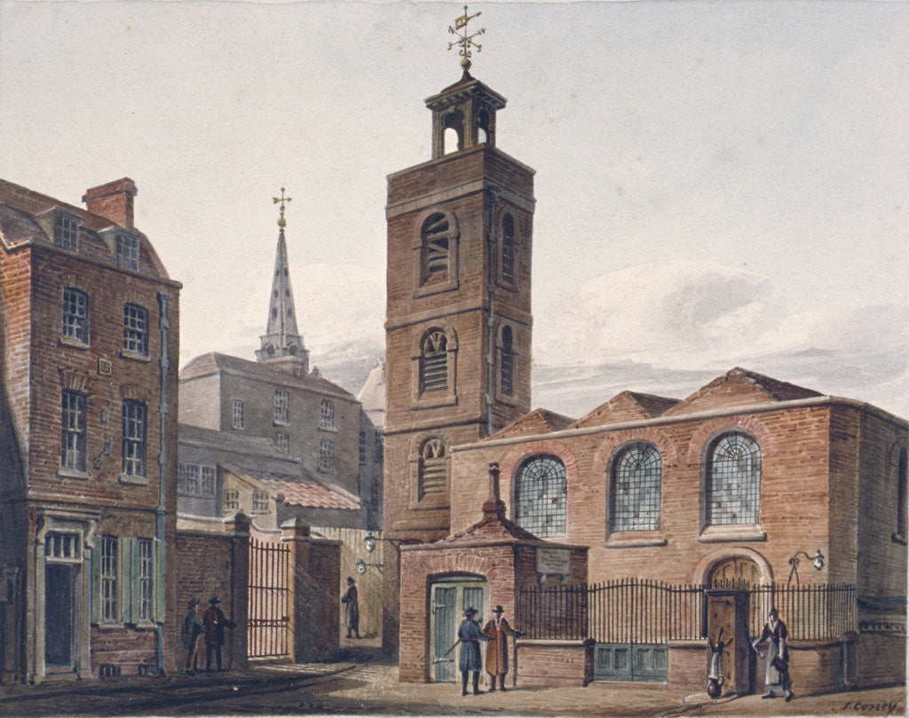 Detail of North view of the Church of St James, Duke's Place and adjacent buildings, City of London by John Coney