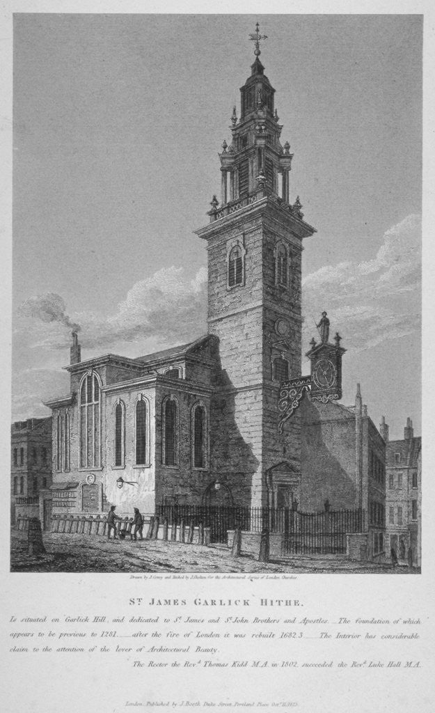 Detail of View of the Church of St James Garlickhythe, City of London by