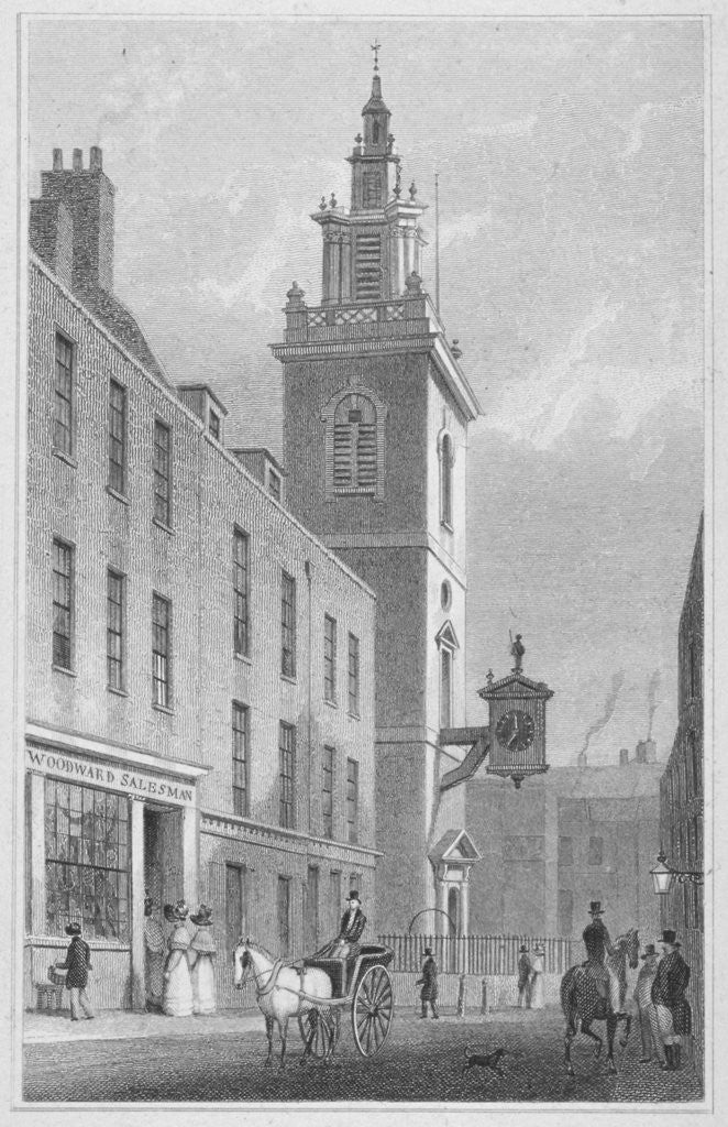 Detail of View of the Church of St James Garlickhythe, City of London by R Acon