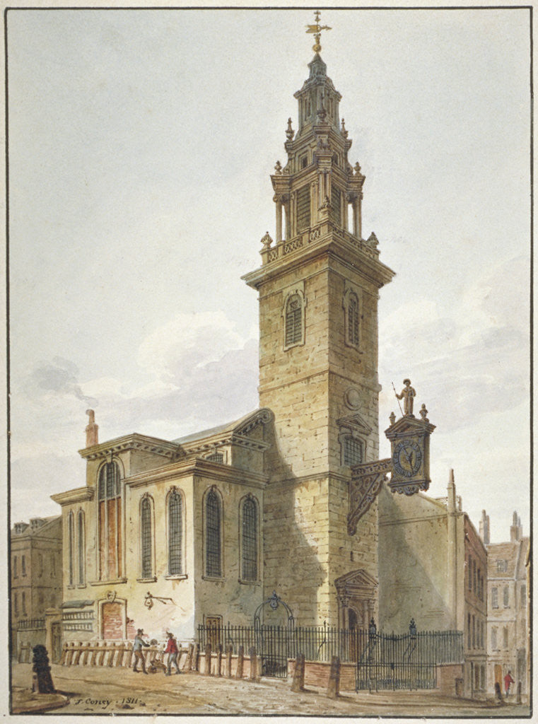 Detail of View of the Church of St James Garlickhythe, City of London by John Coney
