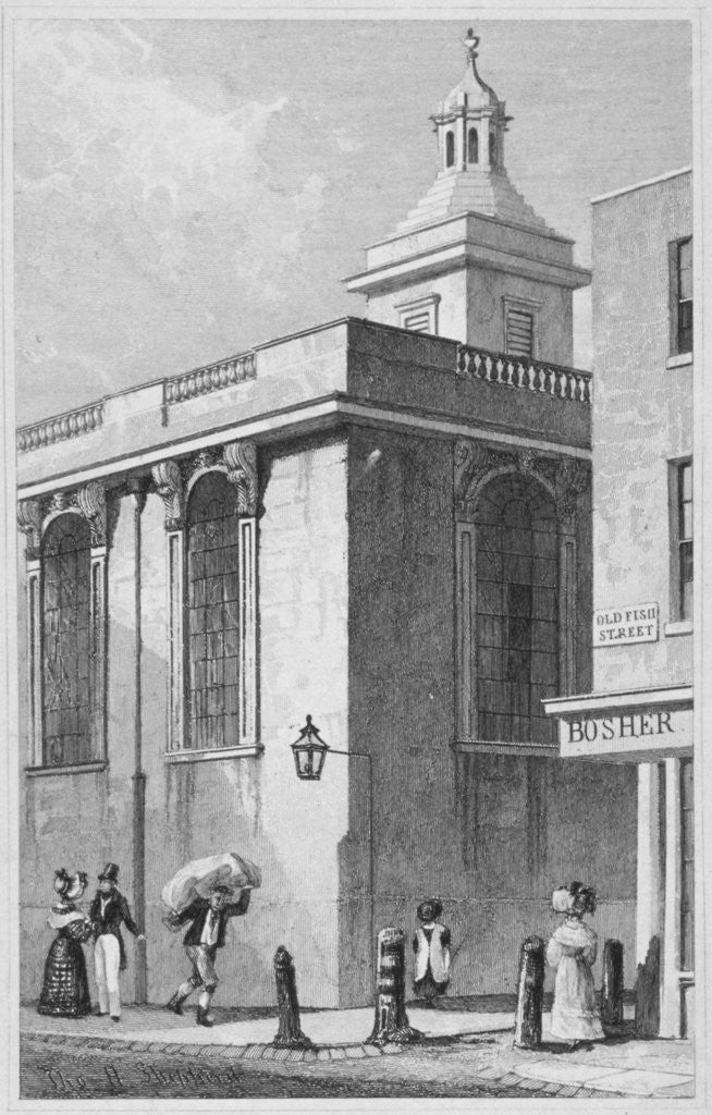 Detail of Church of St Mary Magdalen, Old Fish Street, City of London by William Wilkinson