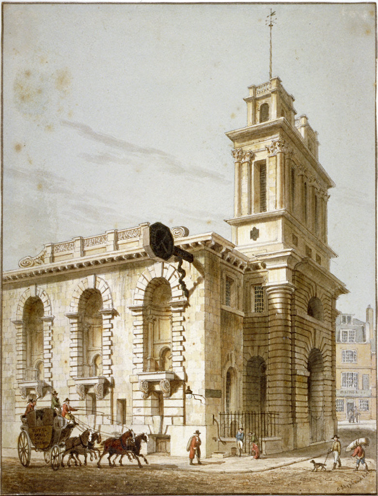 Detail of North-west view of the Church of St Mary Woolnoth, City of London by