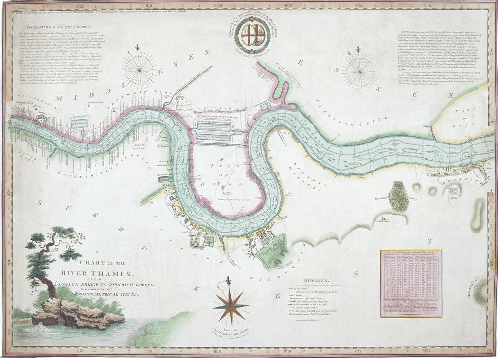 Map of the River Thames from London Bridge to Woolwich by Anonymous
