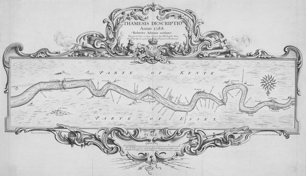 Detail of Map of the River Thames from Tilbury to Westminster, passing through Kent and Essex by Anonymous