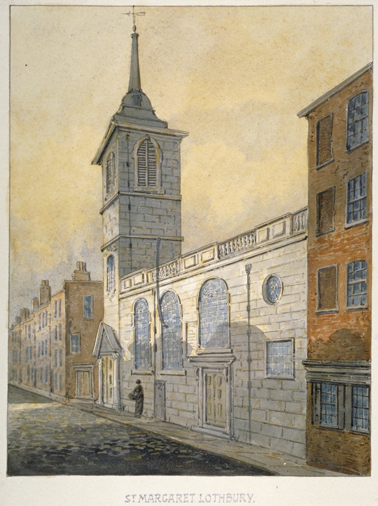 Detail of South-east view of the Church of St Margaret Lothbury, City of London by William Pearson