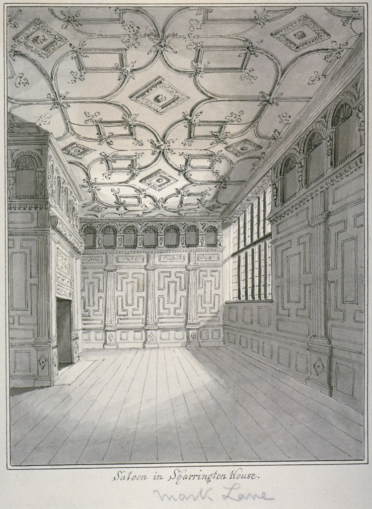 Detail of Interior view of the saloon in Sharrington House, Mark Lane, City of London by