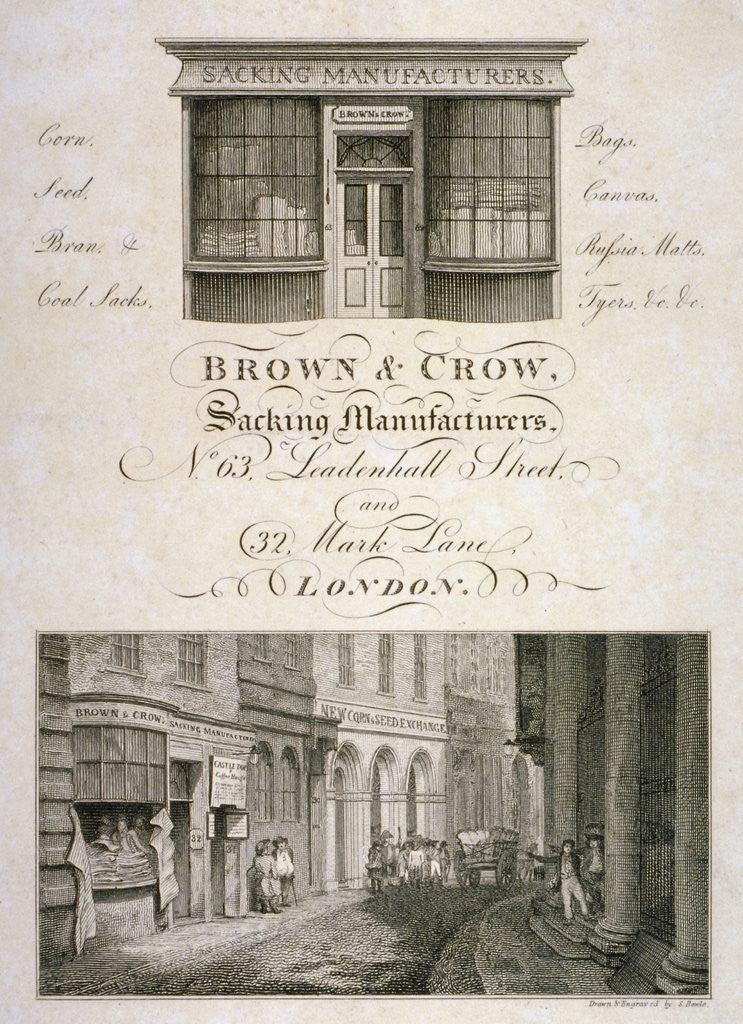 Detail of Shop front of Brown and Crow, sacking manufacturers, 32 Mark Lane, City of London by Samuel Rawle