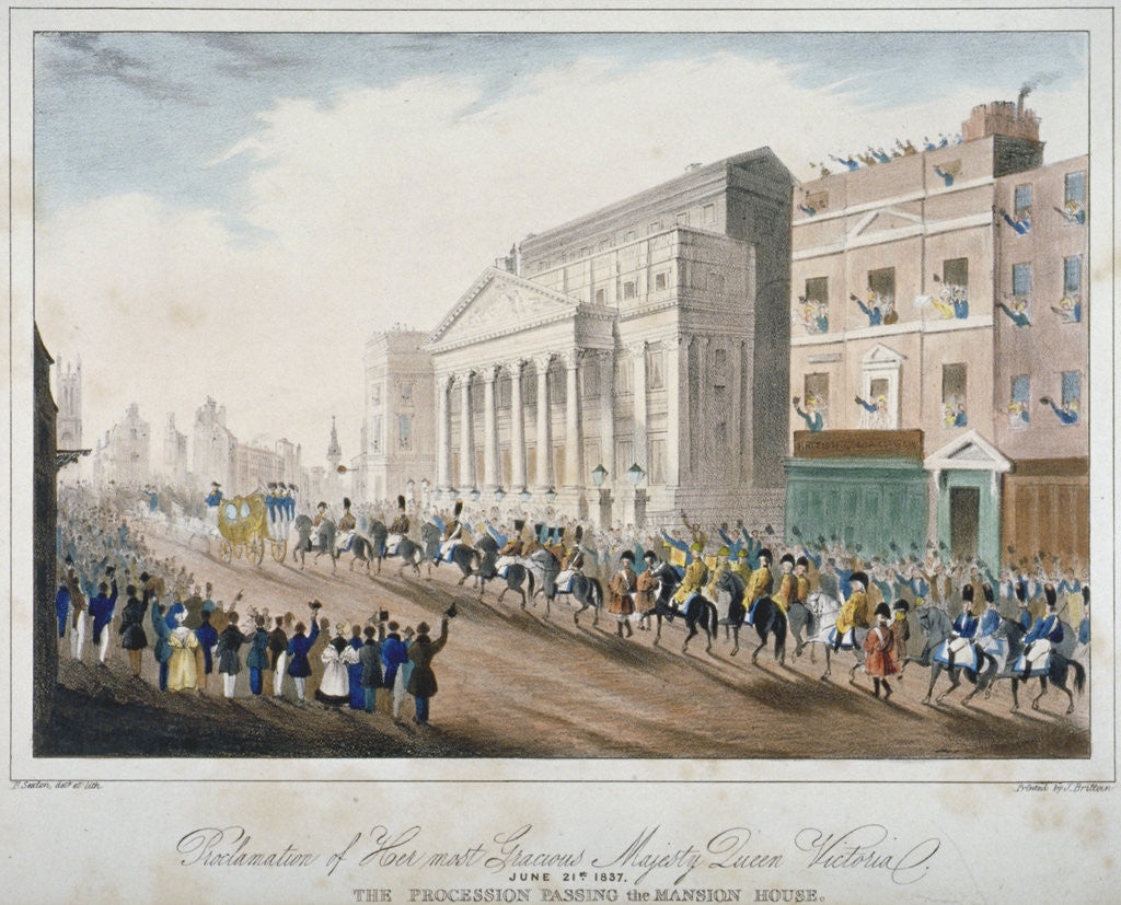 Detail of Procession passing Mansion House, City of London by E Sexton