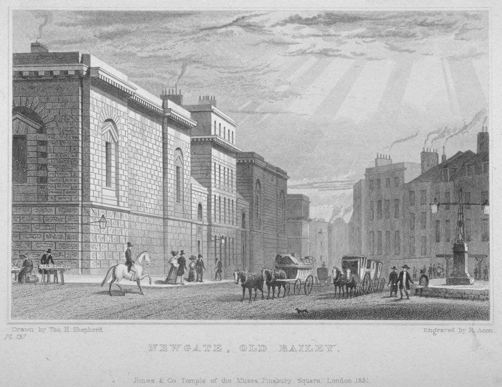 Detail of Newgate Prison, Old Bailey, City of London by R Acon