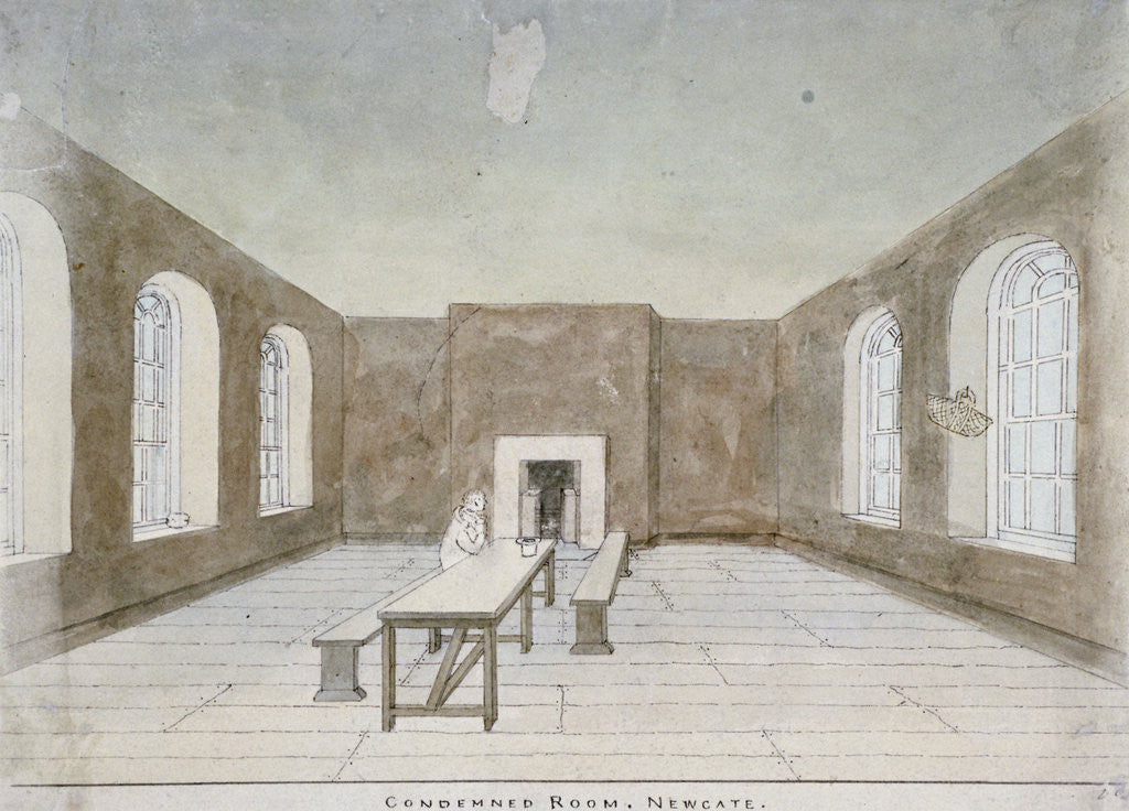 Detail of Interior of the condemned room in Newgate Prison, Old Bailey, City of London by Valentine Davis