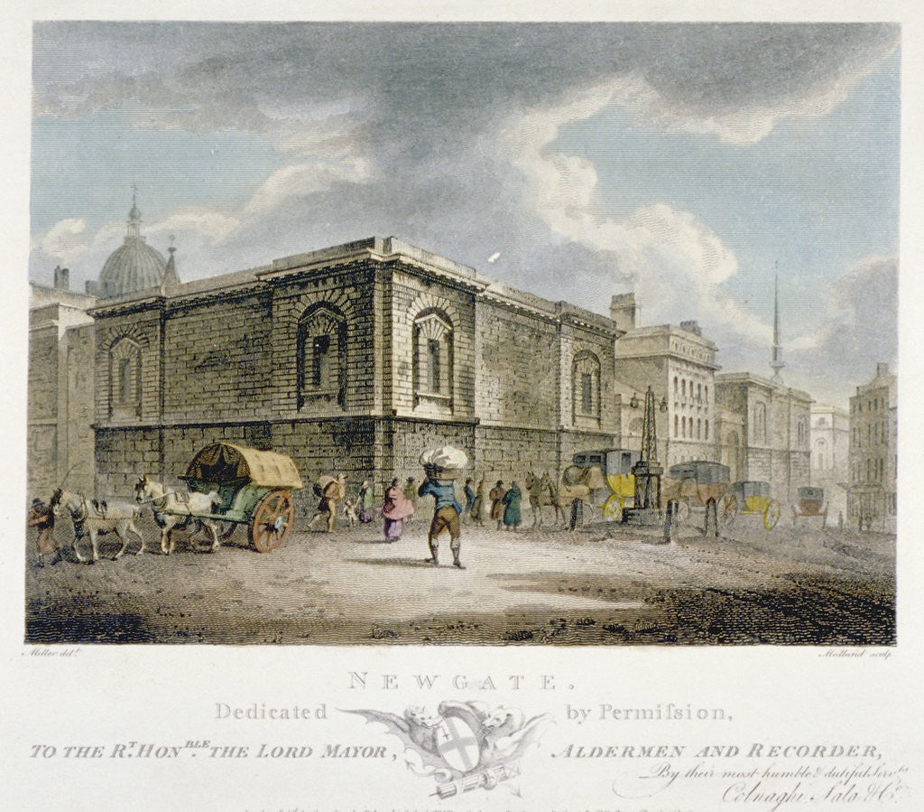 Detail of Newgate Prison, Old Bailey, City of London by Thomas Medland