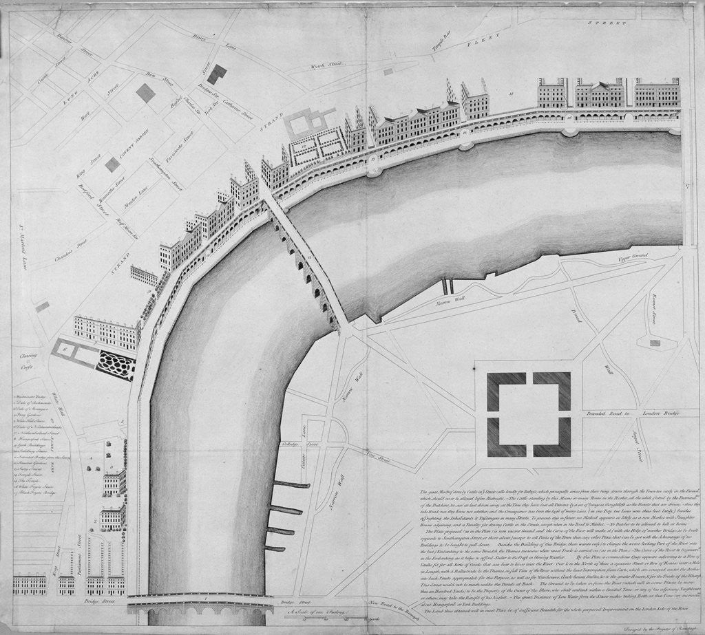 Detail of Proposed Thames embankment, London by Anonymous