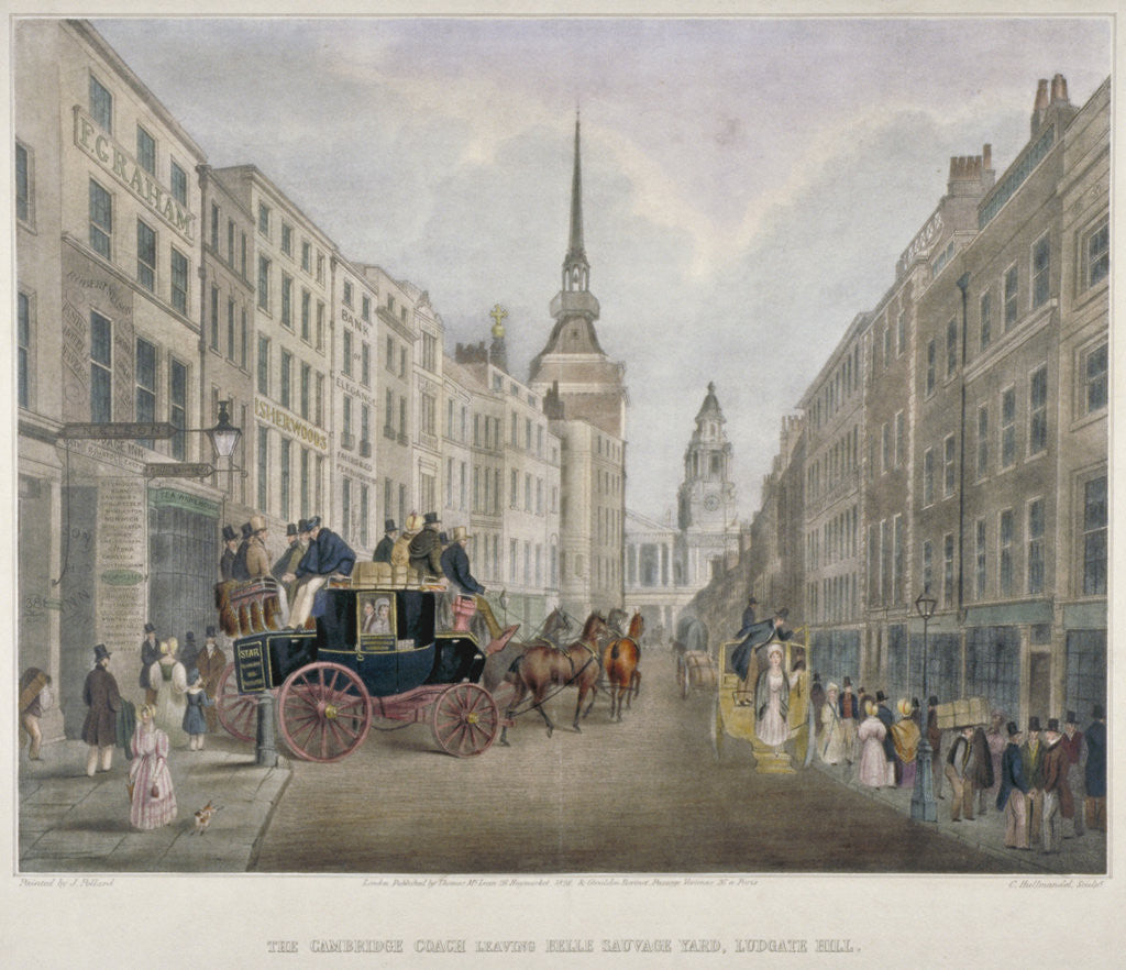 Detail of The Cambridge coach leaving the Nelson Inn, Belle Sauvage Yard, Ludgate Hill, London by