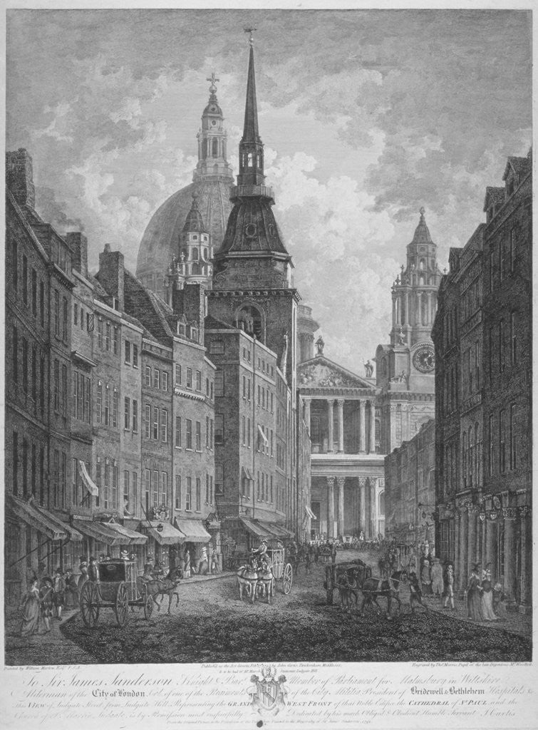 Detail of Ludgate Hill, Church of St Martin within Ludgate and St Paul's Cathedral, City of London by Thomas Malton II