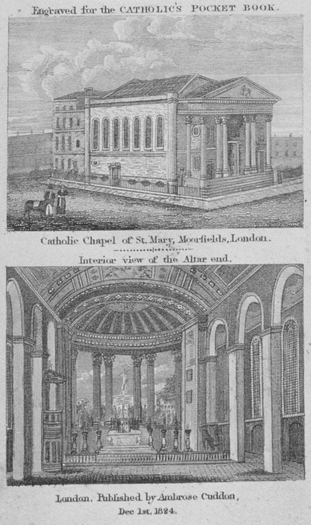 Detail of Two views of St Mary's Roman Catholic Church, Moorfields, City of London by Anonymous