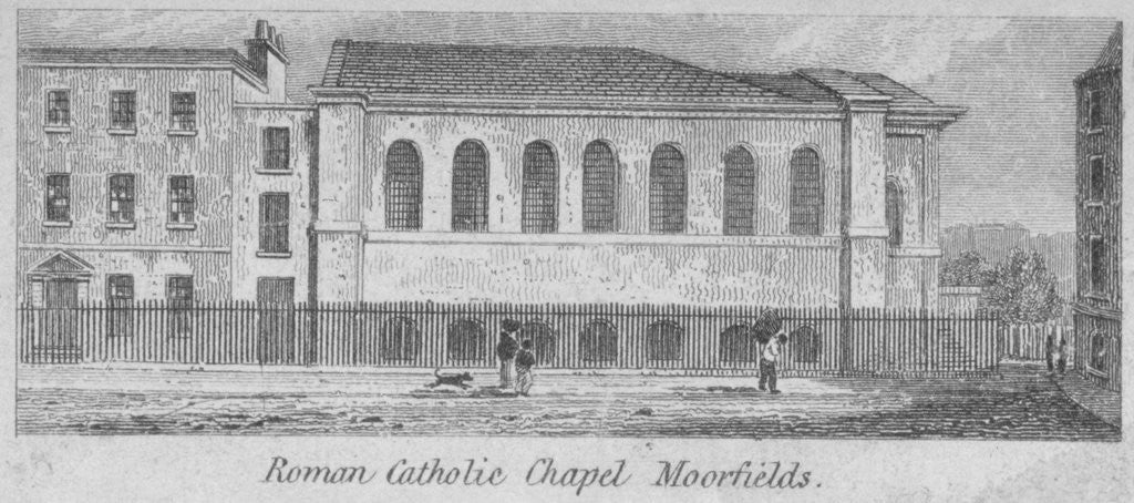 Detail of Side view of St Mary's Roman Catholic Church, Moorfields, City of London by Anonymous